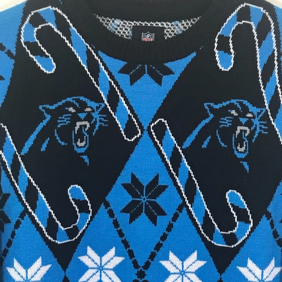 c7dd475f2 Carolina Panthers Blue Candy Cane Sweater Small. M 5b1acbc5035cf184f241cf55